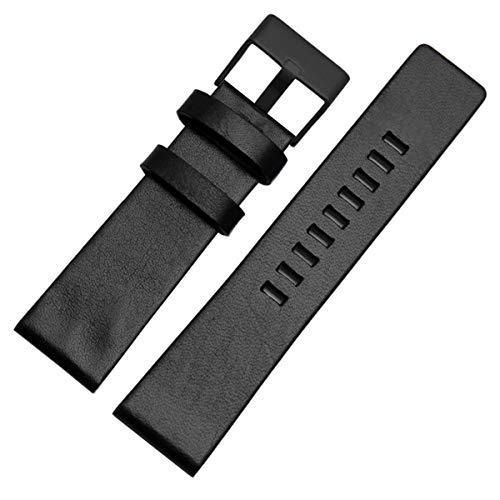 Universal Leder Uhrenarmband Armbanduhr Gürtel Armband Riemen 22mm 24mm 26mm 28mm 30mm, Schwarz Schwarz Schnalle, 30mm