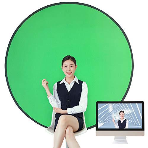 GOKEI グリーンバック zoom クロマキー 背景布 緑 純綿100% ポップアップ 背景スクリーン 携帯 組み立て不要 ビデオ配信 部屋隠し Zoom会議 コンパクト収納 椅子取り付け 折り畳み式 テレビ会議 在宅勤務 リバーシブル テレワーク リモートワーク 142CM