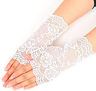 Women's Gloves Wedding Bridal Mittens Wrist Length Lace Floral Glove Accessory White