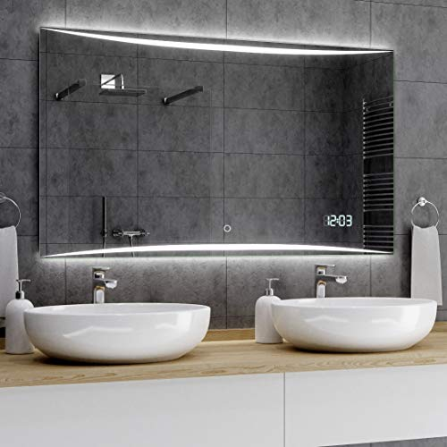 Alasta® Lichtspiegel mit Beleuchtung - 160x80 cm - Vilnius Spiegel mit Touch Lichtschalter und LED Uhr