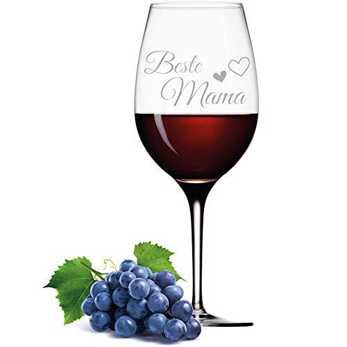 FORYOU24 Leonardo Weinglas mit Gravur Motiv Beste Mama Wein-Glas graviert Geschenkidee Muttertag