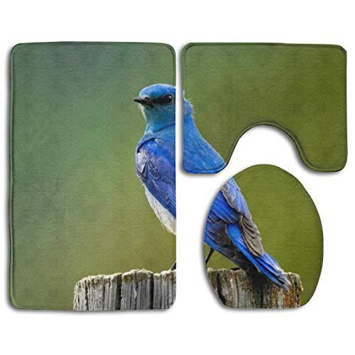 If Not Schöne Bluebird auf Baumstamm WC Teppich Mode Badezimmer Teppich Matten Set 3 Stück Anti-Rutsch-Pads