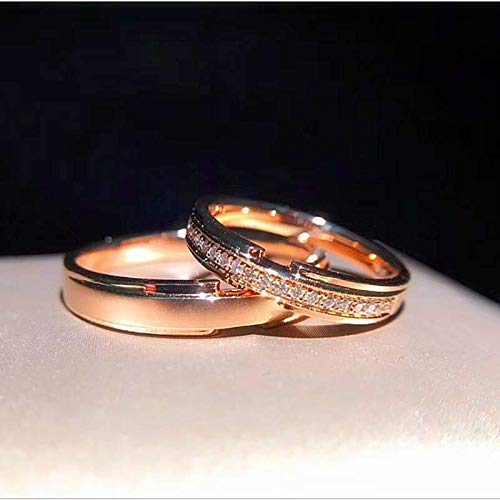 Amazon Com Solid 18k Rose Gold Diamond Wedding Ring Set Matching Wedding Bands His Hers Wedding Rings Couple Ring Set All Size Wholesale Available Handmade