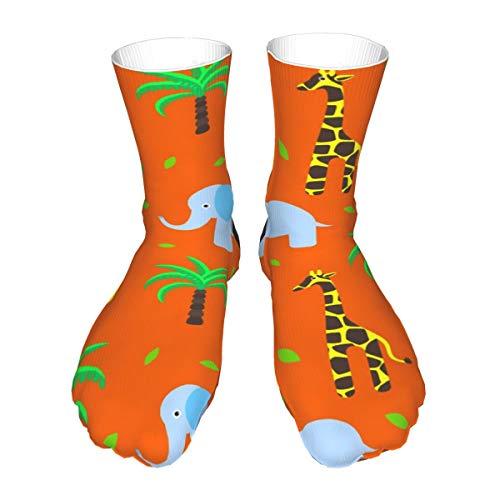 Jirafa Y Elefante Palma Calcetines Casual Mujeres y Hombres Caliente Grueso Control de Humedad Calcetines de Halloween