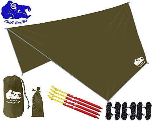 Chill Gorilla HEX Hammock Rain Fly Camping Tarp. Ripstop Nylon. 142' Centerline. Stakes, Ropes & Tensioners Included. Camping Gear & Accessories. Perfect Hammock Tent. OD Green