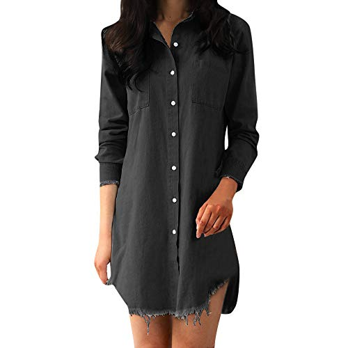 LISTHA Denim T-Shirt Dress Long Sleeve Maxi Dresses for Women Plus Size with Pockets