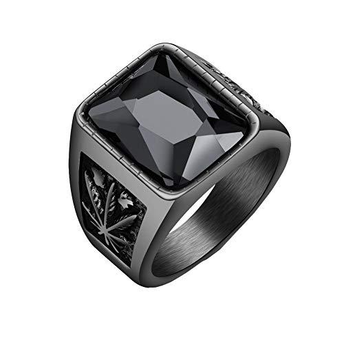 PAURO Boda con Incrustaciones de Piedras Preciosas de La Vendimia Hoja de Arce Anillo Hombre Acero Inoxidable Negro Tamaño 32
