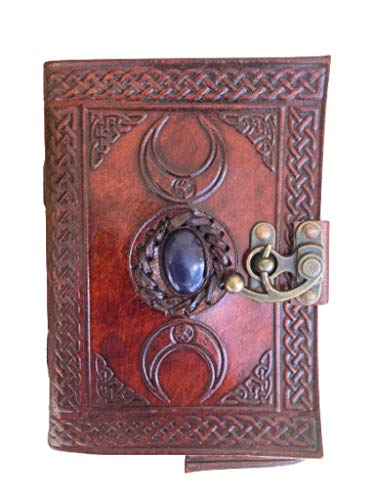Leather Journal Handmade Third Eye Stone Celtic Triple Moon New Embossed Vintage Daily Notepad Unlined Paper 7 x 5 Inches, Sketchbook & Writing Notebook