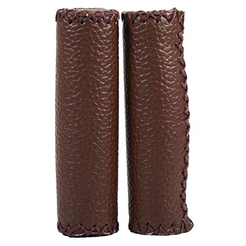 Bicycle Handlebar Grips, Dark Brown Bike Grips, Dark Brown Handlebar Grips Retro Artificial Leather Handle Grips Bike Handle Covers for Cycling MTB Road Mountain Bike Handlebar Grips, 1 Pair(coffee)