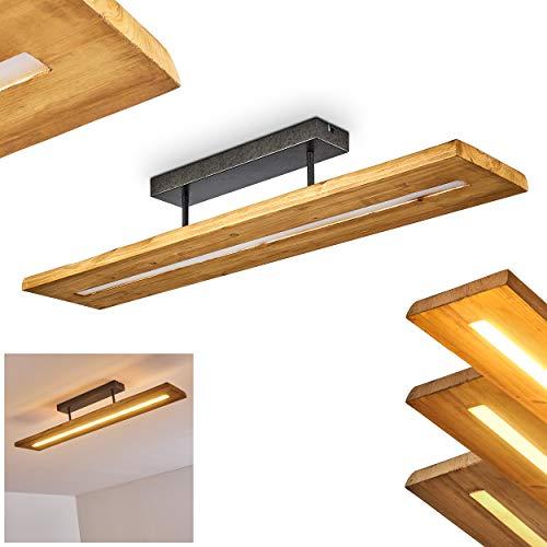 LED Deckenleuchte Adak, dimmbare Deckenlampe aus dunkeln Holz und Metall in Dunkelgrau, 27 Watt, 3000 Lumen max, 3000 Kelvin, moderne Zimmerlampe, dimmbar über den Lichtschalter