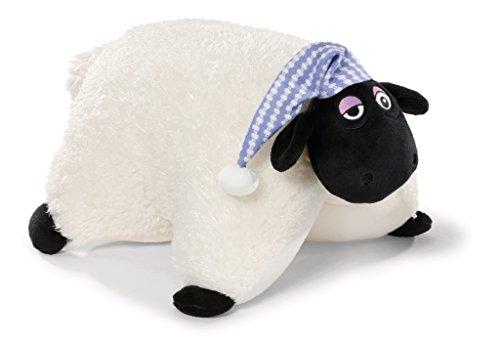 NICI 41472 Shaun das Schaf Kuscheltier-Kissen Shirley mit Schlafmütze, 40 x 30 cm, Farbe: Weiß/Schwarz