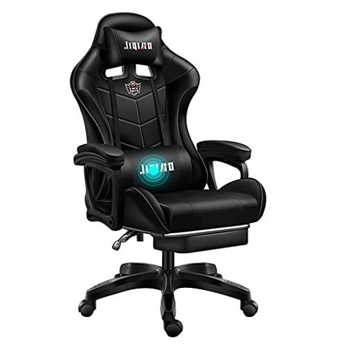qiaoliang Massage Gaming Stuhl Racing Recliner Ergonomisch Einstellbarem Schwenkstuhl High Back Pu-Leder-Gamer-Stuhl Für E-Sport, Liegendes Videospielstuhl(Color:Schwarz)
