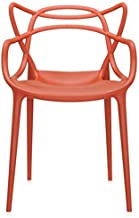 2xhome - Dining Room Chair - Red - Modern Contemporary Designer Designed Popular Home Office Work Indoor Outdoor Armchair Living Family Room Kitchen