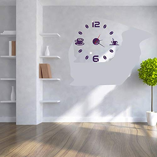 New Glumes DIY Wall Clock, 3D Mirror Surface Sticker, Acrylic Modern Non-Ticking Stainless Steel Clo...