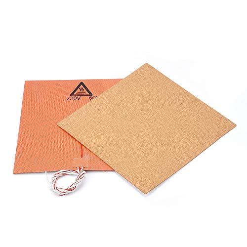 HUANRUOBAIHUO 220V 600W Silicone Heater Pad Mat 300X300mm + Adhesive Cork Sheets 300 * 300 * 3mm Heated Bed Hot Plate For TEVO Tornado Lulzbot 3D Printer Parts