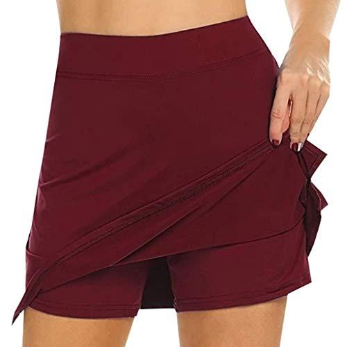 Riou Rock Damen mit Hose Sommer Kurz Active Athletic Skort Leichter Tennisrock mit Innenhose Hosenrock für Damen Sportrock (XL, Rot)