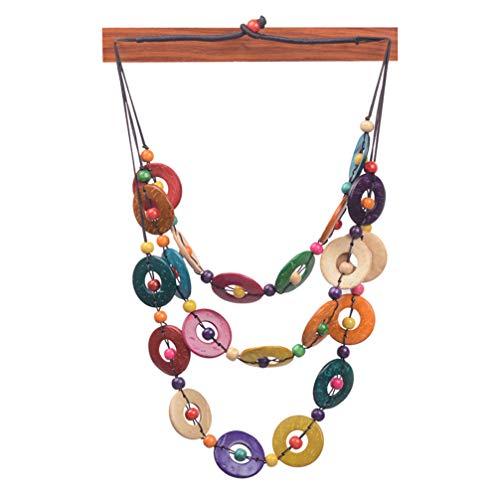 Happyyami Collar de Cuentas de Madera de Concha de Coco Bohemio Collar étnico de Mujer Collar Largo con Cuentas Hechas a Mano