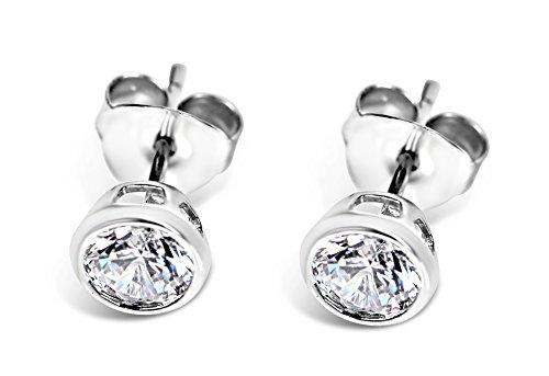 Isabella Silver LONDON Designer Jewellery 925 Sterling Silver 5mm CZ Martini-Style Bezel-Set Stud Earrings (Silver)
