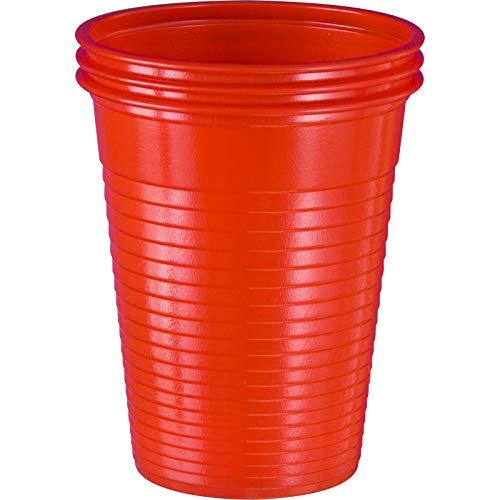 wellsamed 144985 100 Stück Einwegbecher Rot Plastikbecher Trinkbecher Becher Kunststoff Einweg 0,18 Liter
