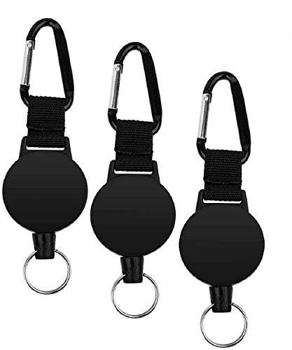 MOKIU 3 Stk Schlüsselband ausziehbar mit Schlüsselanhänger für Schlüsselbund oder als Ausweis-JOJO mit Stahlseil bzw Schlüssel-JOJO Zipper