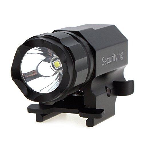 SecurityIng - Torcia a LED per pistola, 2 modalità, 600 lumen, luce stroboscopica, a rilascio rapito, per escursionismo, campeggio, caccia e altre attività all'aperto o al chiuso