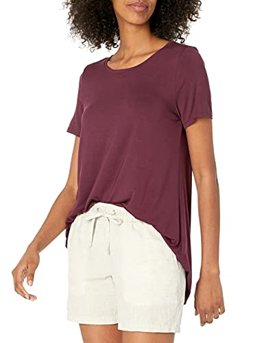 Amazon Essentials Camiseta de Manga Corta con Cuello Redondo y Ajuste Relajado Athletic-Shirts, Burdeos, L