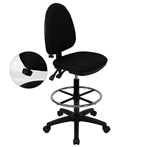 Flash Furniture Mid-Back Black Fabric Multifunction Ergonomic Drafting Chair with Adjustable Lumbar Support