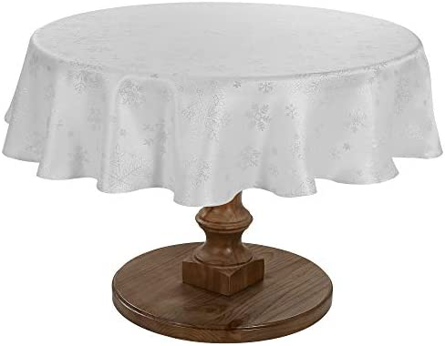 HARORBAY Christmas Tablecloth Round 60 Inch Snowflake Table Cloth for Thanksgiving Fall Holiday product image