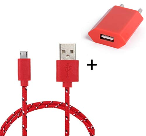 Shot Case Charger Pack for Samsung Galaxy Tab S2 Smartphone Micro USB 3 m Braided Cable Charger + USB Wall Socket Android Univ Red