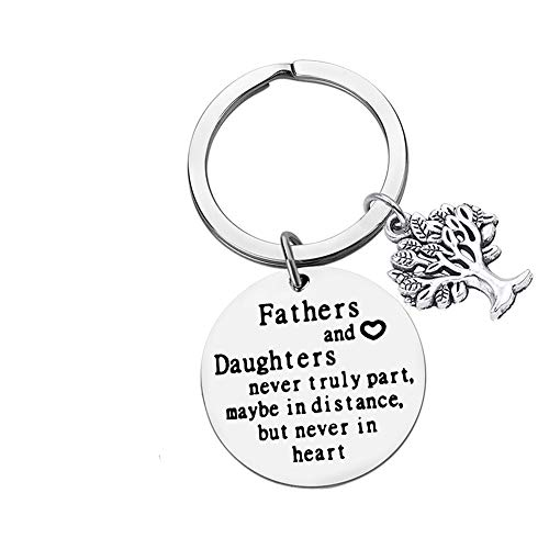 Dad Gift Keyring Long Distance Relationship Gift for Dad Fathers' Day Gift Dad Gift from Daughter for Birthday,Fathers and Daughters Never Truly Part Key Chain Stainless Steel Key Ring for Daddy Papa