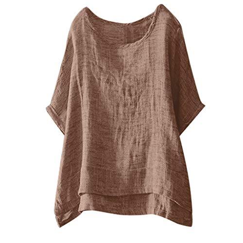 Camisetas Algodón Y Lino Mujer 2019 Nuevo SHOBDW Moda Cuello Redondo Color Sólido Tops Blusa Suelto Camisetas Mujer Manga Corta Tallas Grandes M-3XL(Caqui,XL)