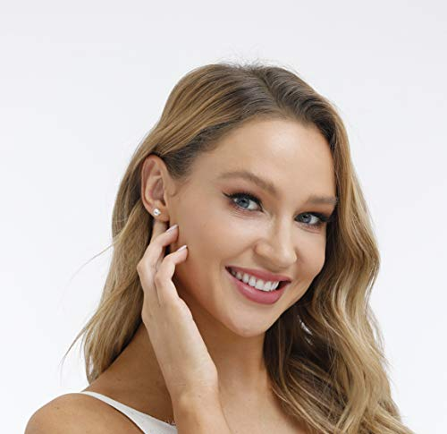 925 Sterling Silver Stud earrings Set | White Gold Plated Hypoallergenic Stud Earrings | Cubic Zirconia Stud Earrings for Women Girls (3mm,4mm,5mm,6mm)