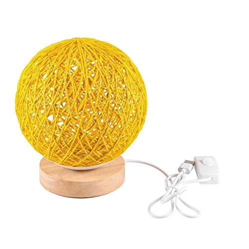 UNISOPH Lampada da Tavolo in Legno, Lampada da Tavolo USB con Paralume a Sfera in Rattan Lavorato a Mano Lampada da Luna in Legno per Camera da Letto Decorativa da Comodino (Doro )