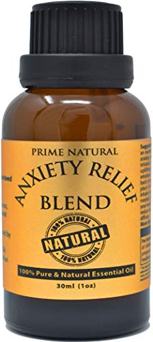 Prime Natural Anxiety Relief Essential Oil Blend 30ml / 1oz - Natural Pure Undiluted Therapeutic Grade for Aromatherapy, Scents, Diffuser, Bracelet, Anti Stress Focus Grounding Calming, Boost Mood