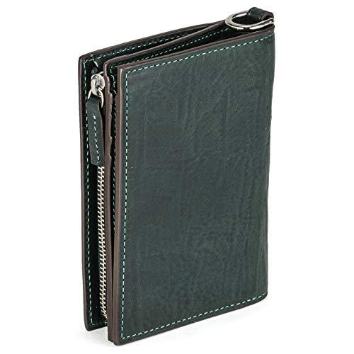 [ゾンネ] シロッコ バケッタレザー フラップ 二つ折り財布 sod008b (ブルーグリーン)