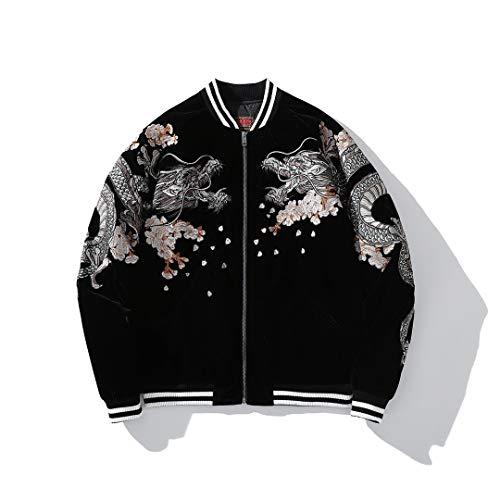 Japanese Style Men Dragon Phoenix Embroidery Hip Hop Bomber Jacket Streetwear Baseball Coat Black M