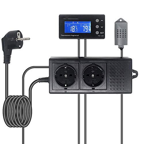 HEQIE-YONGP Controladores de Temperatura de visualización Digital Termostato Digital HygromStat, Controlador de Humedad de Temperatura reotile Mascota Día Noche de Tiempo