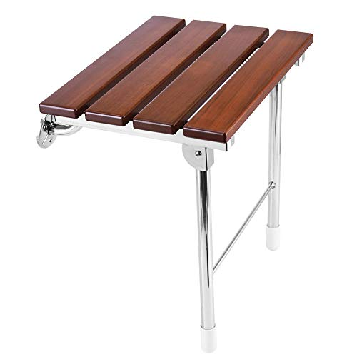 "JCWANGDEFU Folding Shower Seat Wall Mounted Bathroom Bathtub Safety Stool Chair, Solid Wood, with Support Legs, Load of 350 lbs, 14.88""(L)*12""(W)*17.12""(H)"