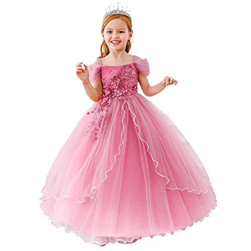 Dressy Daisy Girls Special Occasion Dresses Prom Gown Wedding Flower Girl Pageant Dress Sequined Applique Size 12 Dusty Rose 429