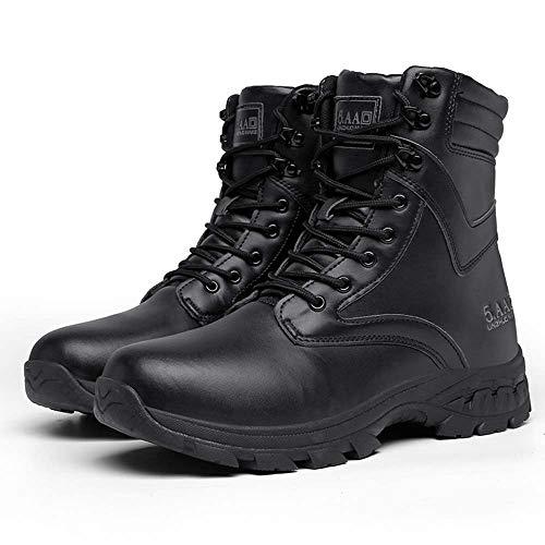 Bititger - Botas de desierto militares de piel, impermeables, con cremallera, botas tácticas y de combate para hombre, para patrullas, de seguridad, para policías, color Negro, talla 43.5 EU