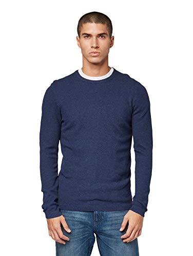 TOM TAILOR Herren Strukturiertes Mélange Sweatshirt, Blau (Sky Captain Blue Non 13684), Large (Herstellergröße: L)