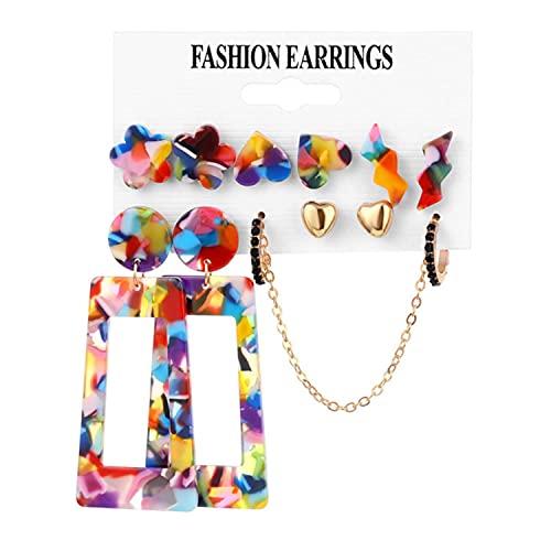5 Sets Fashion Acrylic Butterfly Drop Earrings Set Bohemian Pearl Tassel Metal Alloy Mixed Earrings Women's Fashion Jewelry Gift