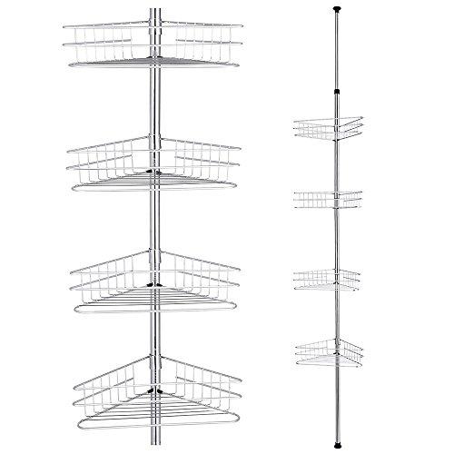 Yescom コーナーラック 4段 つっぱり 高さ249~280cm 浴室 シャンプー ラック 浴室用ラック 突っ張り バス ...