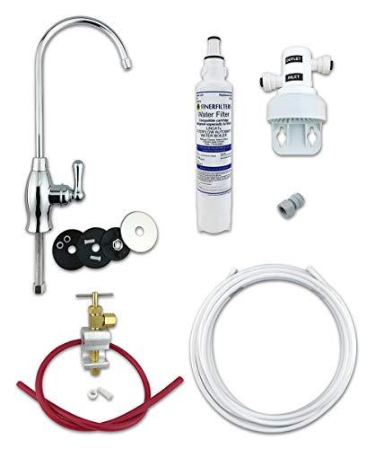 Finerfilters Deluxe Untertisch-Trinkwasserfilter-Set, einfach zu wechselnder Drehfilter, Trockenwechsel, stylischer Chrom-Wasserhahn mit langer Reichweite