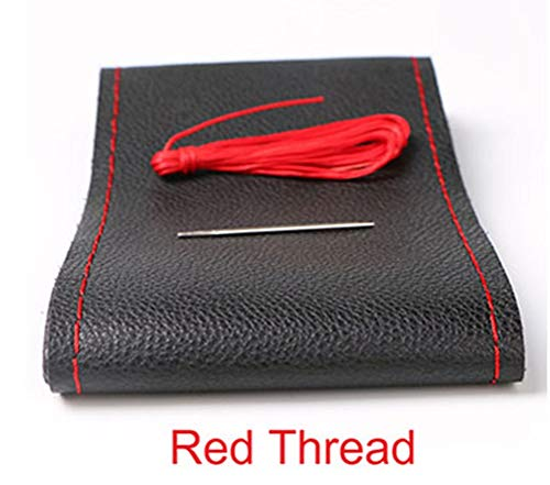 Bricolaje Cubiertas del volante de cuero suave en el volante del automóvil con aguja e hilo Accesorios de interior Rojo