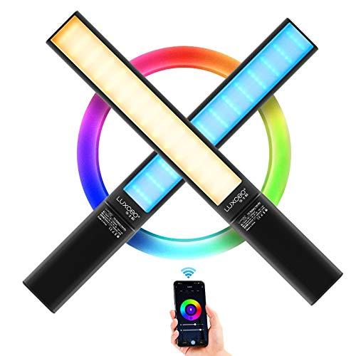 LUXCEO P6 RGB LED Videoleuchte Leuchtstab Handheld Fotografie Licht 1300LM,2500-6500K,eingebauter 10000mAh Batterie,12-Szenen-Simulation,EIS Licht für Fotografie Studio-Video-Filmen Licht Hochzeit