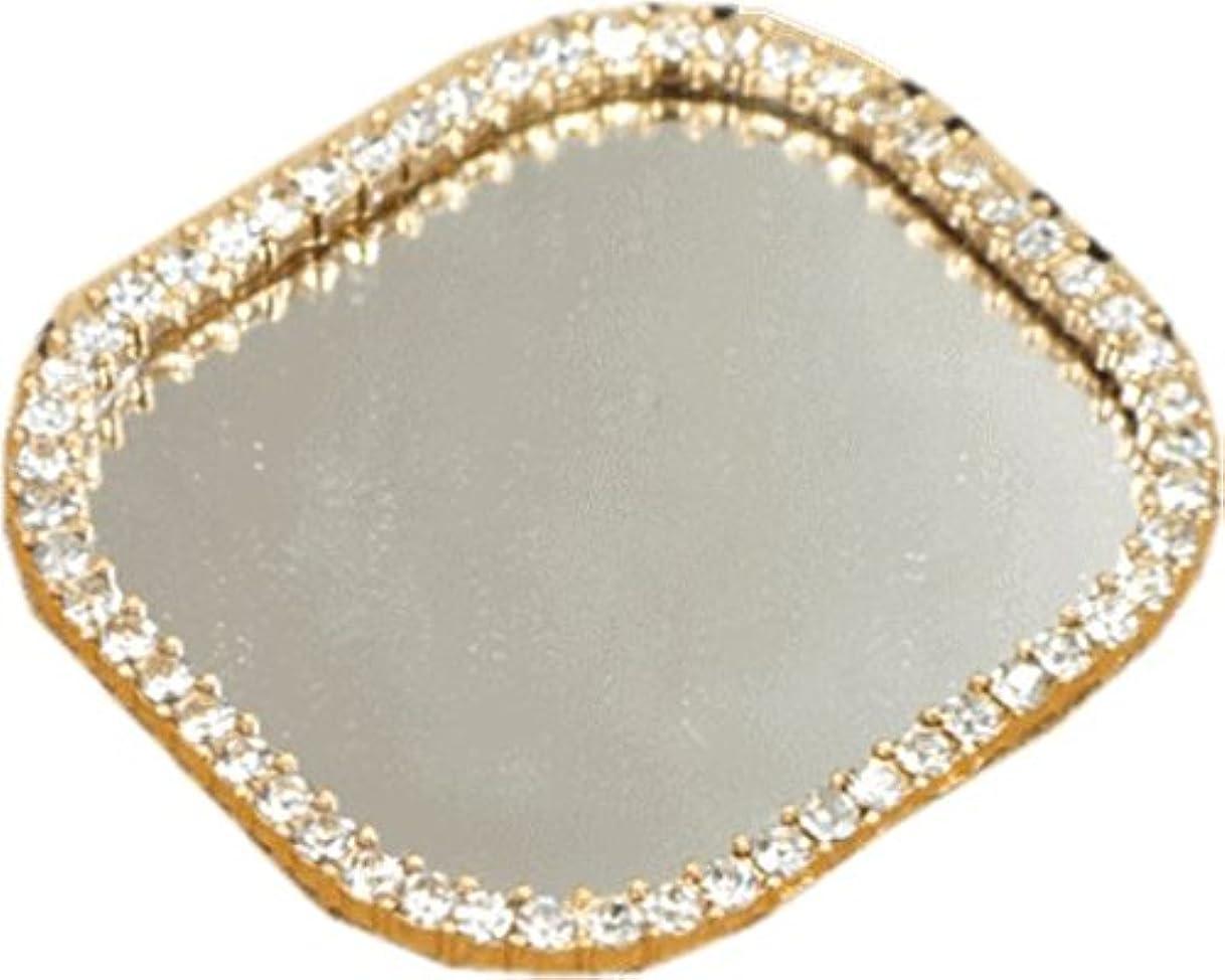 お祝いつかの間アラートラインストーン付ミラー鏡 四角 デコパーツに
