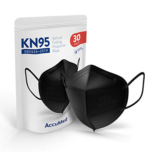 AccuMed 30-Pack KN95 Face Mask (EUA Listed Appendix A Respirator), Protective Face Mask, Disposable Particulate Respirator, GB2626-2019 (Black)