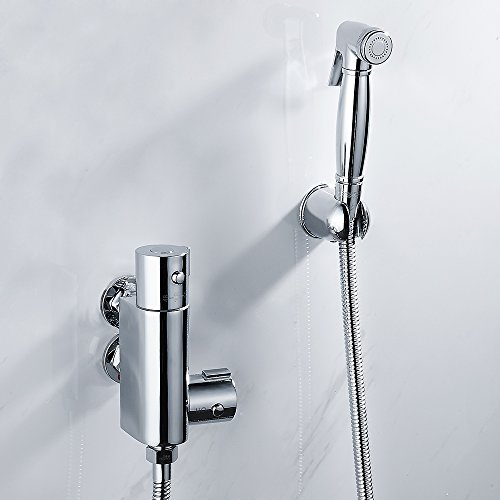 Bidet Handbrause Thermostat Mischbatterie für Badewanne Badezimmer Wandmontage mit Schlauch und Halterung