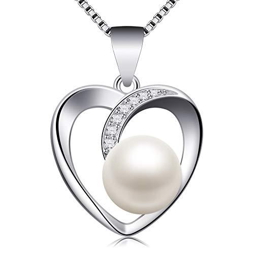 Jewlldeen Collares Mujer Plata de Ley 925 Perla Colgante Corazón ''Te amo'' con para Regalo Originales Cadena 18'' Longitud